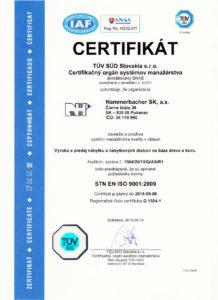 CERTIFIKÁT ISO 9001:2009 Hammerbacher SK, a.s.