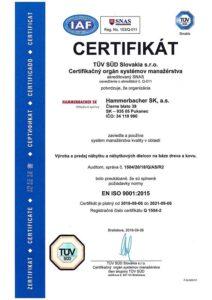 CERTIFIKÁT ISO 9001:2015 Hammerbacher SK, a.s.
